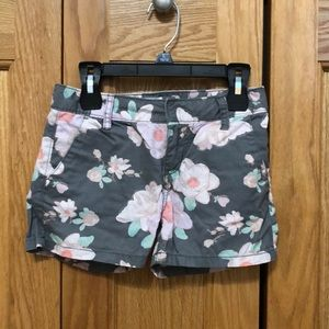 Light gray and floral printed shorts